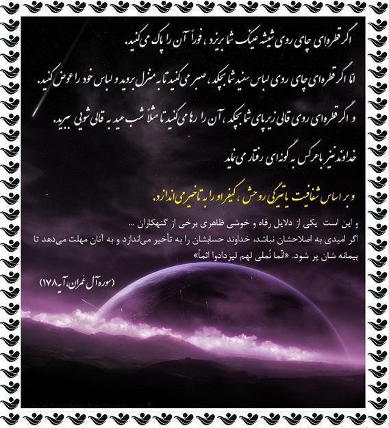 چگونگی تاخیر خداوندی در کیفر گناهان - رضا210